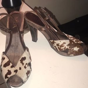 Cow print heels